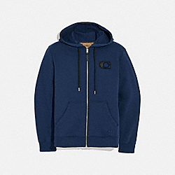 COACH F68810 Varsity C Zip Up Hoodie NAVY
