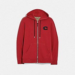 COACH F68810 Varsity C Zip Up Hoodie RED