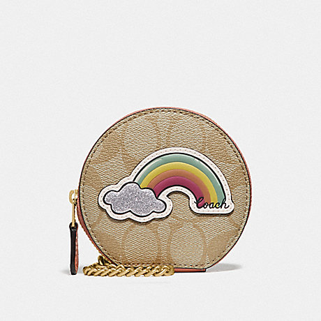 COACH F68849 ROUND COIN CASE IN SIGNATURE CANVAS WITH MOTIF LIGHT KHAKI/CORAL/GOLD