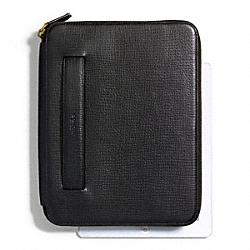 COACH F68908 Crosby Box Grain Leather Double Zip Ipad Case With Stand BLACK