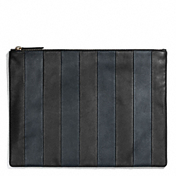COACH F68918 Bleecker Bar Stripe Leather Portfolio NAVY/BLACK