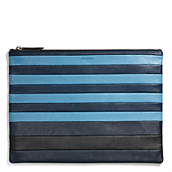 COACH F68925 Bleecker Mixed Bar Stripe Leather Portfolio CADET/DARK ROYAL