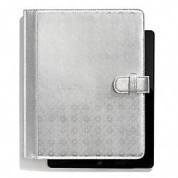 COACH F68936 Waverly Signature Embossed Coated Canvas Ipad Folio SILVER/SILVER