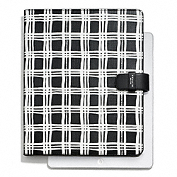COACH F68937 - BLEECKER PAINTED PLAID PRINT IPAD FOLIO SILVER/BLACK MULTI