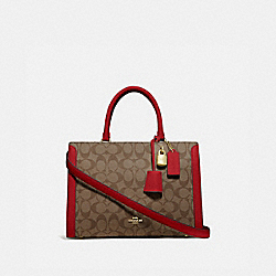 ZOE CARRYALL IN SIGNATURE CANVAS - F69075 - IM/KHAKI/TRUE RED