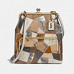 COACH F69110 - DOUBLE FRAME CROSSBODY 26 WITH SIGNATURE PATCHWORK B4/CREAM MULTI