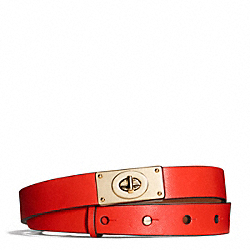 COACH F69117 Napa Leather Turnlock Belt VERMILLION