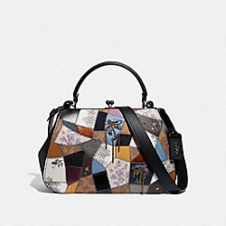 FRAME BAG WITH PATCHWORK - F69131 - V5/TAN BLACK MULTI