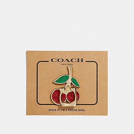 COACH F69230GDE1L CHERRY PHONE GRIP MULTI/GOLD