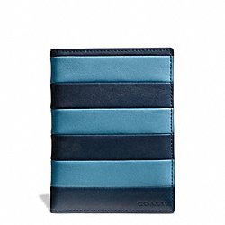 COACH F69336 Bleecker Bar Stripe Leather Passport Case CADET/DARK ROYAL