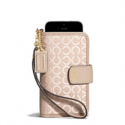 COACH F69379 Madison Op Art Pearlescent Fabric Phone Wristlet LIGHT GOLD/PEACH ROSE
