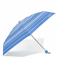 COACH F69721 Variegated Stripe Mini Umbrella SILVER/BRILLIANT BLUE