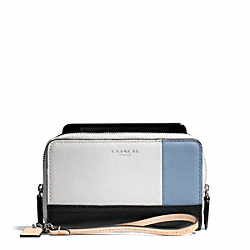 COACH F69957 Bleecker Colorblock Leather Double Zip Phone Wallet SILVER/NATURAL/WASHED OXFORD