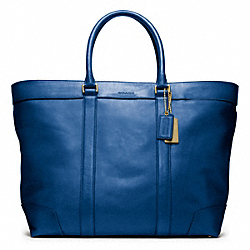 COACH F70487 Bleecker Legacy Leather Weekend Tote BRASS/VINTAGE ROYAL
