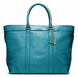COACH F70487 Bleecker Legacy Leather Weekend Tote BRASS/OCEAN