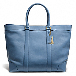 COACH F70487 Bleecker Leather Weekend Tote BRASS/SKY BLUE