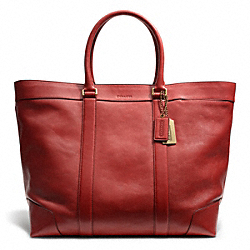 COACH F70487 Bleecker Leather Weekend Tote BRASS/TOMATO