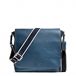 HERITAGE WEB LEATHER MAP BAG - f70555 - SILVER/MARINE