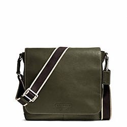 COACH F70555 - HERITAGE WEB LEATHER MAP BAG SILVER/OLIVE