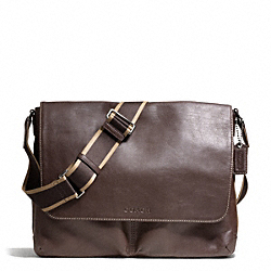 COACH F70556 Heritage Leather Messenger SILVER/BROWN