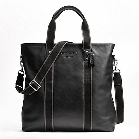 COACH F70560 HERITAGE WEB LEATHER UTILITY TOTE SILVER/BLACK
