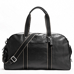 COACH F70561 - HERITAGE WEB LEATHER DUFFLE SILVER/BLACK