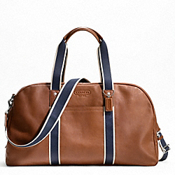COACH F70561 - HERITAGE WEB LEATHER DUFFLE SILVER/SADDLE