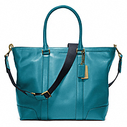 COACH F70600 Bleecker Legacy Leather Business Tote BRASS/OCEAN