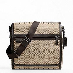 COACH F70699 - SIGNATURE JACQUARD MAP BAG GUNMETAL/KHAKI BROWN