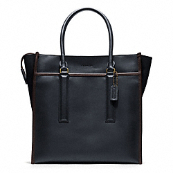 COACH F70725 - BLEECKER LEATHER TOTE BRASS/NAVY/MAHOGANY