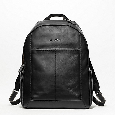 Coach F70747 Heritage Web Leather Backpack Silver