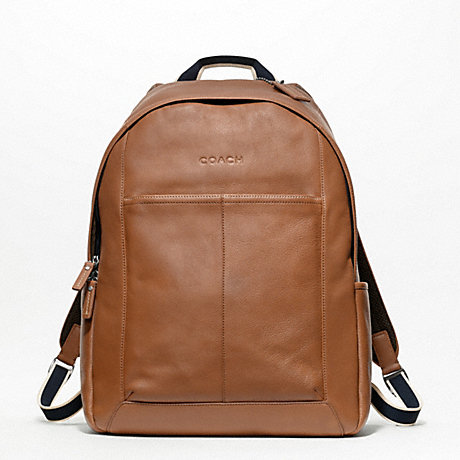 COACH f70747 HERITAGE WEB LEATHER BACKPACK SILVER/SADDLE