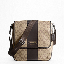 COACH HERITAGE STRIPE MAP BAG - f70757 - SILVER/KHAKI/BROWN