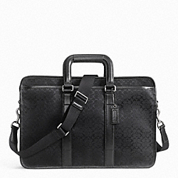 COACH F70759 Signature Jacquard Embassy Brief GUNMETAL/BLACK/BLACK