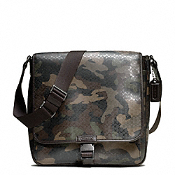 COACH F70765 Heritage Signature Map Bag GUNMETAL/FATIGUE CMFLAGE/BRN