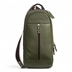 HERITAGE WEB LEATHER SLING - f70811 - SILVER/OLIVE