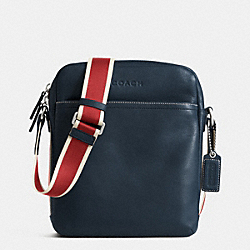 COACH F70813 - HERITAGE WEB LEATHER FLIGHT BAG SILVER/NAVY/RED