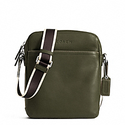 COACH F70813 - HERITAGE WEB LEATHER FLIGHT BAG SILVER/OLIVE