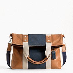 HERITAGE WEB LEATHER COLORBLOCK FOLDOVER TOTE - f70814 - 9897
