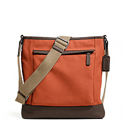 COACH F70820 Camden Canvas Zip Top Crossbody GUNMETAL/ORANGE/DARK BROWN