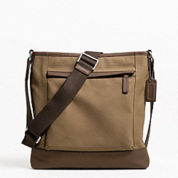 COACH F70820 Camden Canvas Zip Top Crossbody GUNMETAL/KHAKI