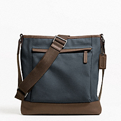 COACH F70820 Camden Canvas Zip Top Crossbody GUNMETAL/NAVY
