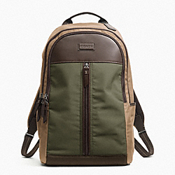 COACH F70835 Varick Nylon Colorblock Backpack GUNMETAL/FATIGUE/KHAKI