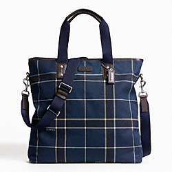 COACH F70845 - HERITAGE WEB CANVAS TATTERSALL TOTE ONE-COLOR