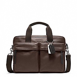 COACH F70859 - THOMPSON LEATHER  SLIM COMMUTER SILVER/MAHOGANY