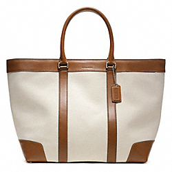 COACH F70889 Bleecker City Canvas Weekend Tote SILVER/NATURAL/FAWN