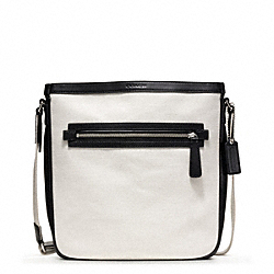 BLEECKER CITY CANVAS FIELD BAG - f70894 - SILVER/NATURAL/BLACK