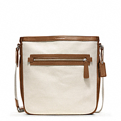COACH F70894 Bleecker City Canvas Field Bag SILVER/NATURAL/FAWN