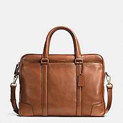 BLEECKER SLIM BRIEF IN LEATHER - f70901 - BRASS/FAWN