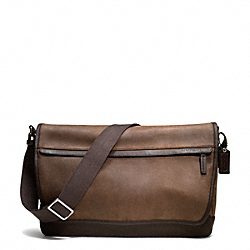 COACH F70924 Camden Leather Messenger GUNMETAL/DISTRESSED BROWN/BRN